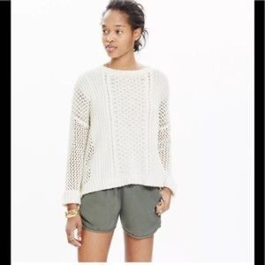 Madewell White Plaza Cable Knit Pullover Sweater